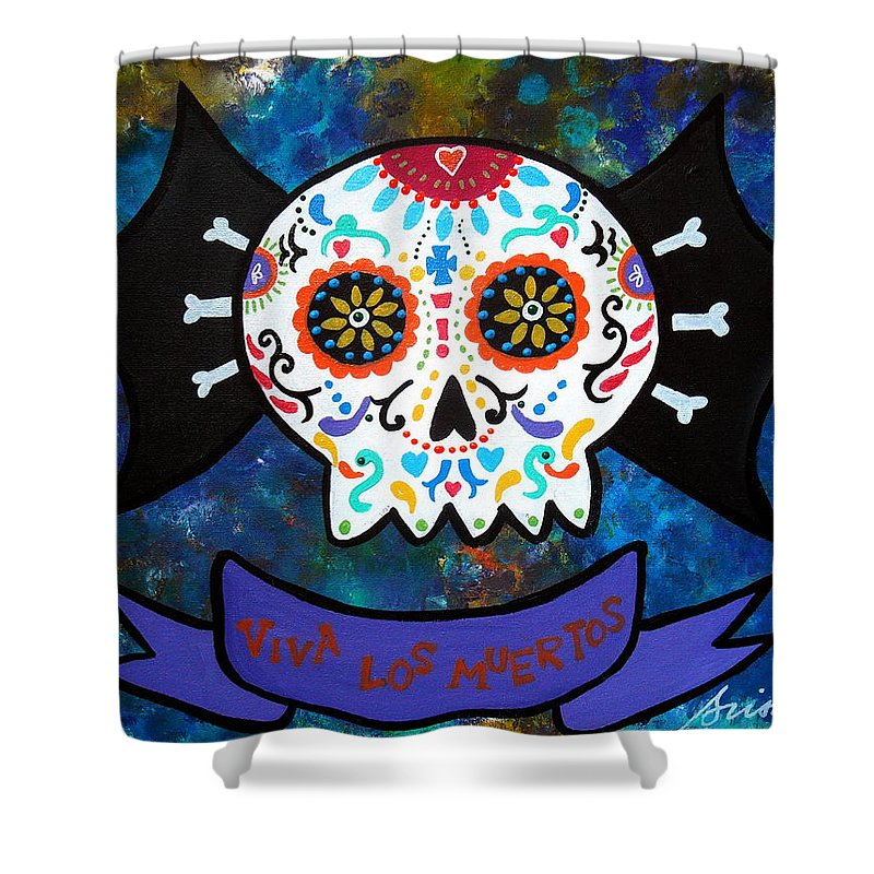 Day Of The Dead Shower Curtain featuring the painting Viva Los Muertos Bat by Pristine Cartera Turkus