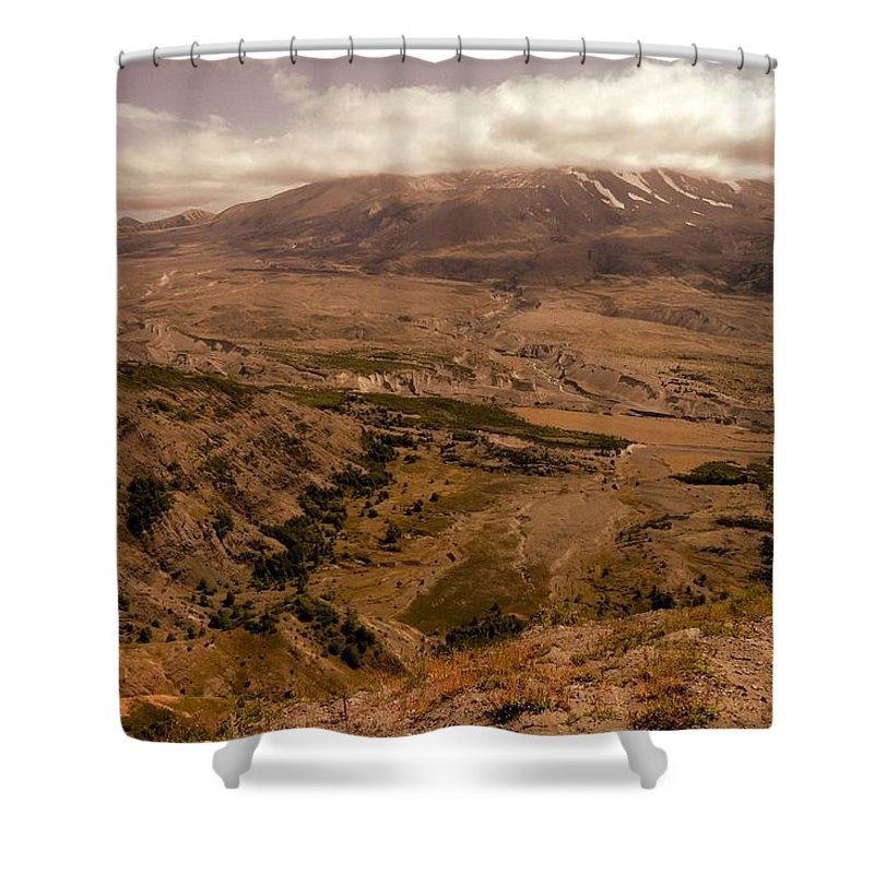 Photos Of Mt St Helens Photographs Photographs Shower Curtain featuring the photograph Volcano by Christy Leigh