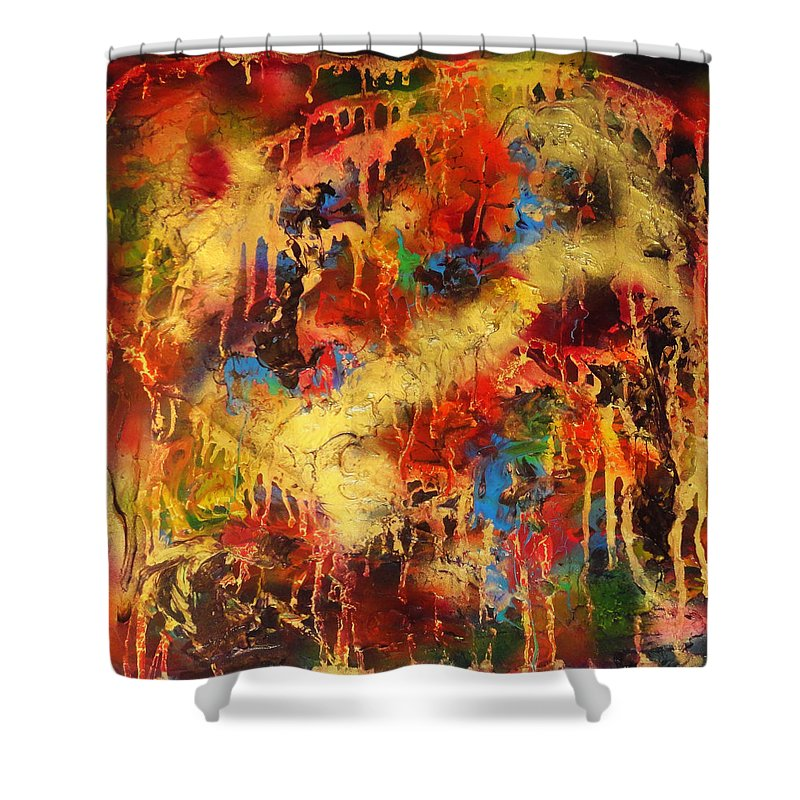 Abstract Shower Curtain featuring the painting Walk Through The Fire by Yael VanGruber