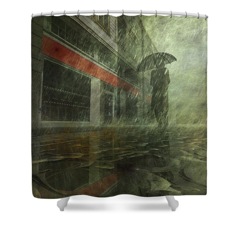 Alone Shower Curtain Featuring The Digital Art Walking In Rain By Carol And Mike Werner