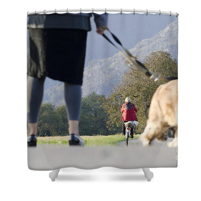 Woman Shower Curtain featuring the photograph Walking With Her Dogs by Mats Silvan