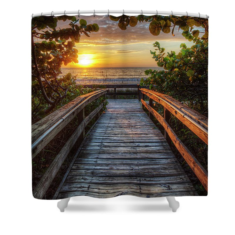 Boardwalk Shower Curtain featuring the photograph walkway to Paradise by Nick Shirghio