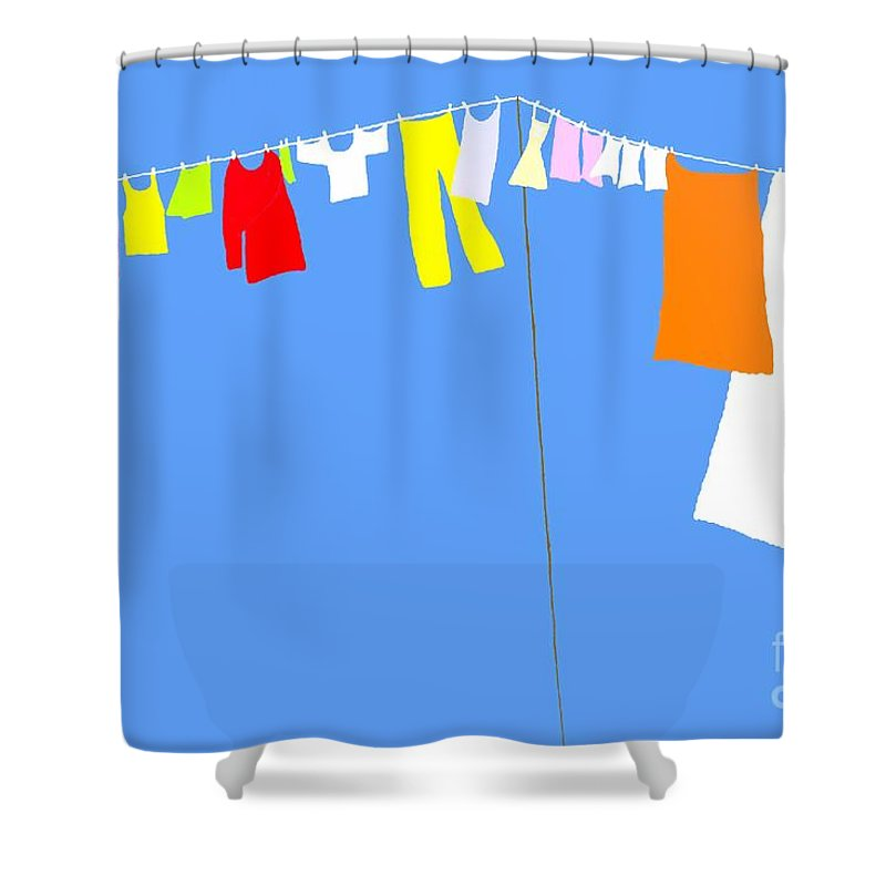 Washing Shower Curtain featuring the digital art Washing Line Simplified Edition by Barbara Moignard