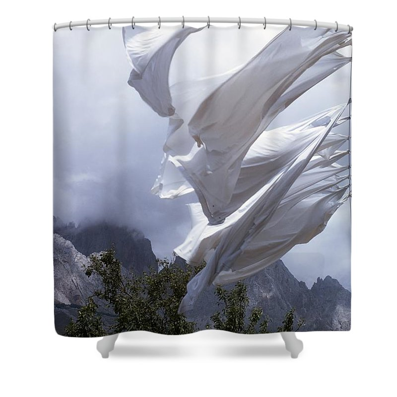 Clothesline Shower Curtain featuring the photograph Washing On A Clothing Line by The Irish Image Collection