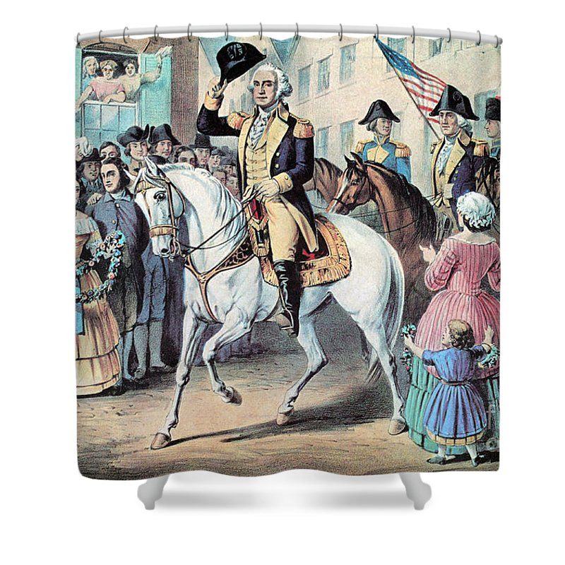 History Shower Curtain featuring the photograph Washington Enters New York City After by Photo Researchers