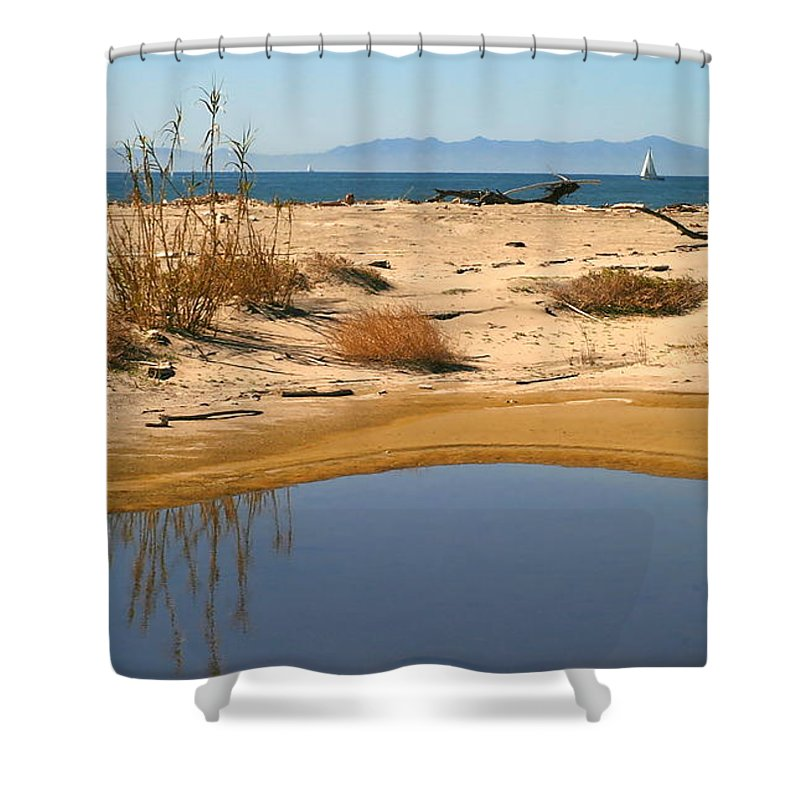 Blue Shower Curtain featuring the photograph Water By The Ocean by Henrik Lehnerer