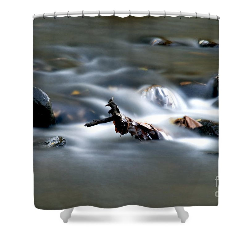 Flowing Water In Brook Shower Curtain featuring the photograph Water Cascades by Optical Playground By MP Ray