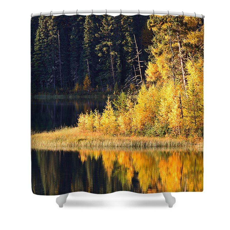 Fall Shower Curtain featuring the photograph Water Reflection At Jade Lake In Northern Saskatchewan by Mark Duffy