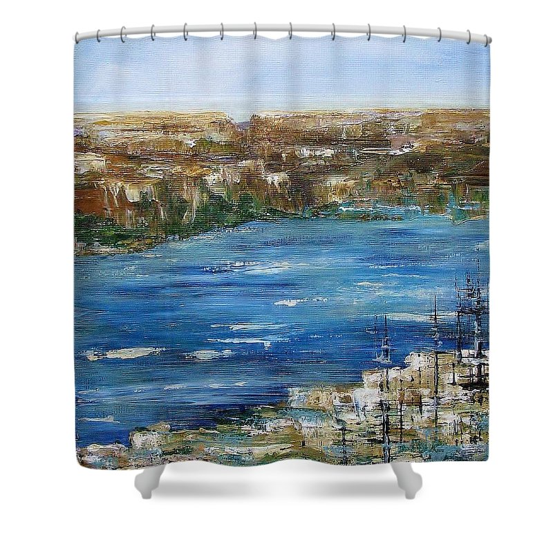 Landscape In Acrylics Shower Curtain featuring the painting Water Way by Elaine Booth-Kallweit