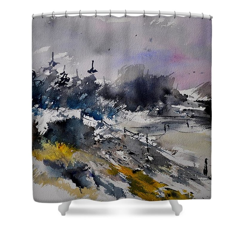 Abstract Shower Curtain featuring the painting Watercolor 217021 by Pol Ledent