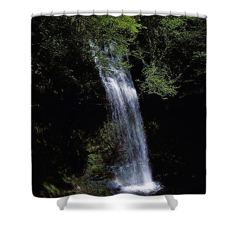 Cloud Shower Curtain featuring the photograph Waterfall In A Forest, Glencar by The Irish Image Collection