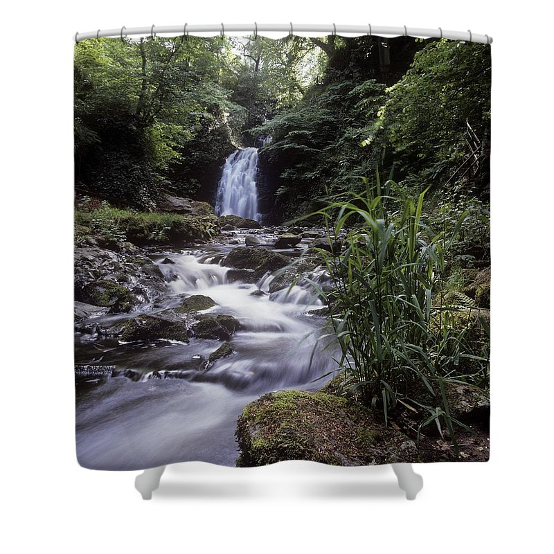 Co Antrim Shower Curtain featuring the photograph Waterfall In A Forest, Glenoe by The Irish Image Collection