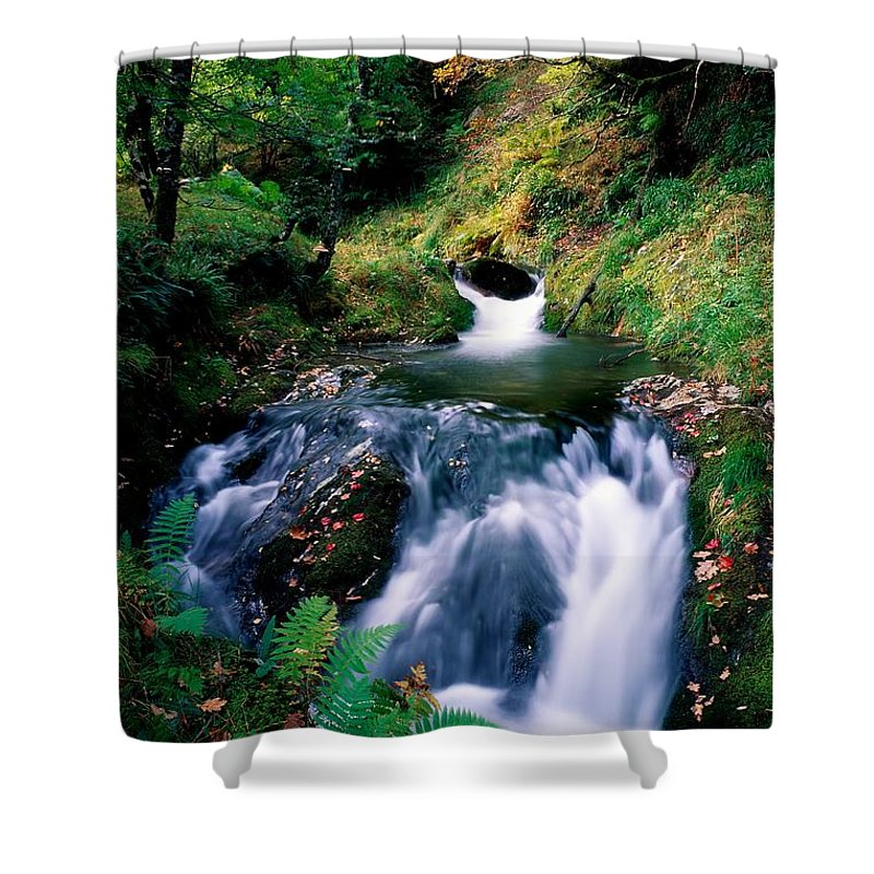 Calm Shower Curtain featuring the photograph Waterfall In The Woods, Ireland by The Irish Image Collection