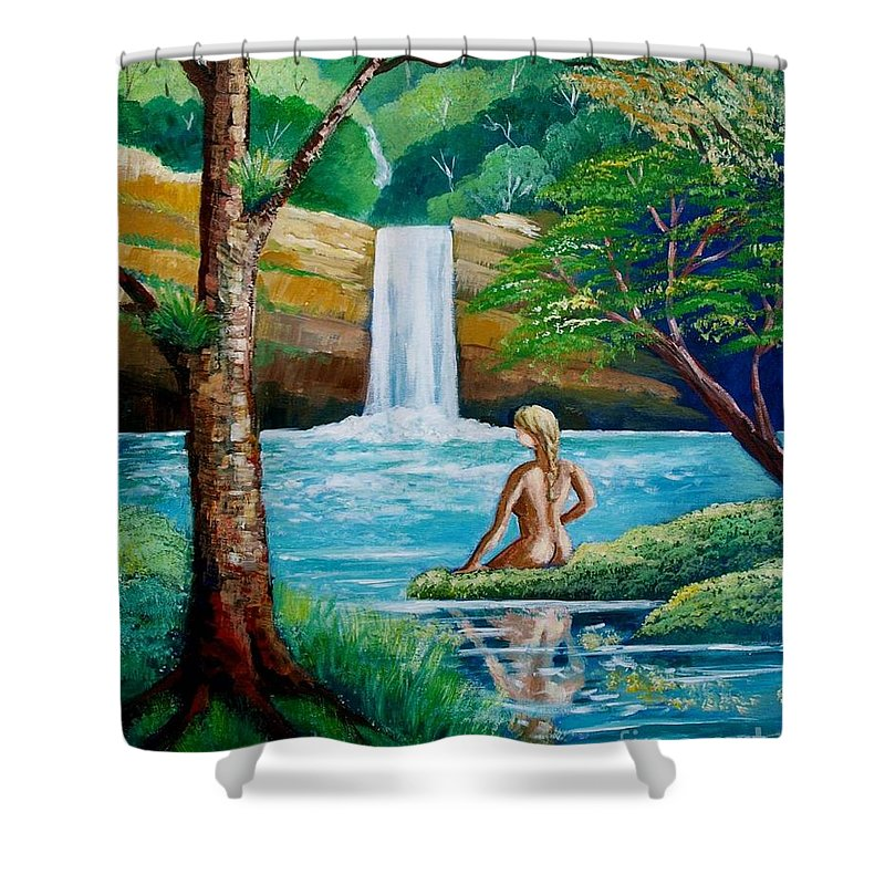 Waterfall Shower Curtain featuring the painting Waterfall Nymph by Jean Pierre Bergoeing