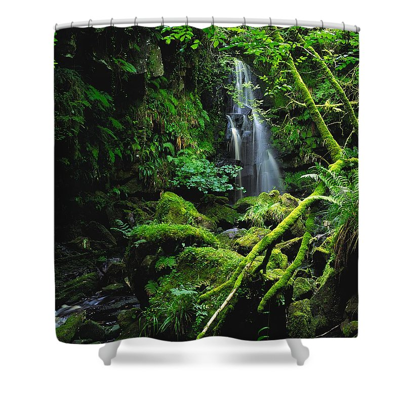 Beauty In Nature Shower Curtain featuring the photograph Waterfall, Sloughan Glen, Co Tyrone by The Irish Image Collection