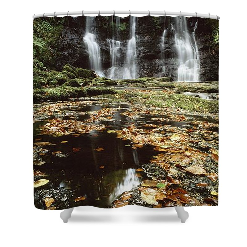 Autumn Shower Curtain featuring the photograph Waterfalls, During The Autumn, Glenoe by The Irish Image Collection