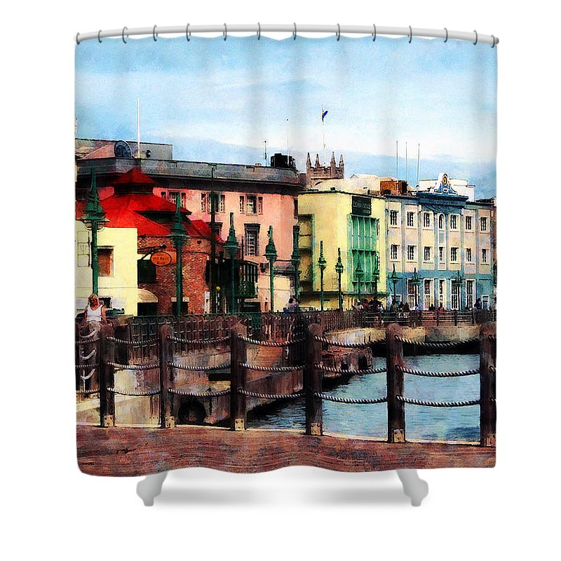 Bridgetown Shower Curtain featuring the photograph Waterfront Bridgetown Barbados by Susan Savad