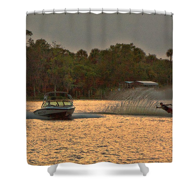 Peach Shower Curtain featuring the photograph Waterskier II by Peggy Starks