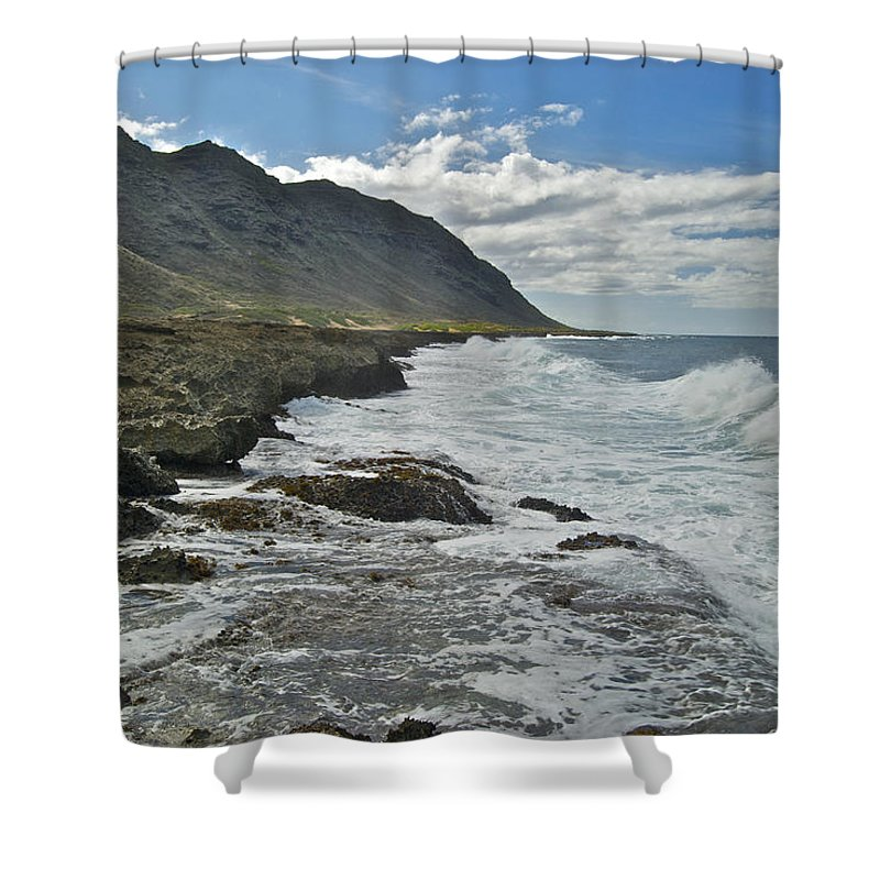 Landscape Shower Curtain featuring the photograph Waves At Kaena State Park 7847 by Michael Peychich