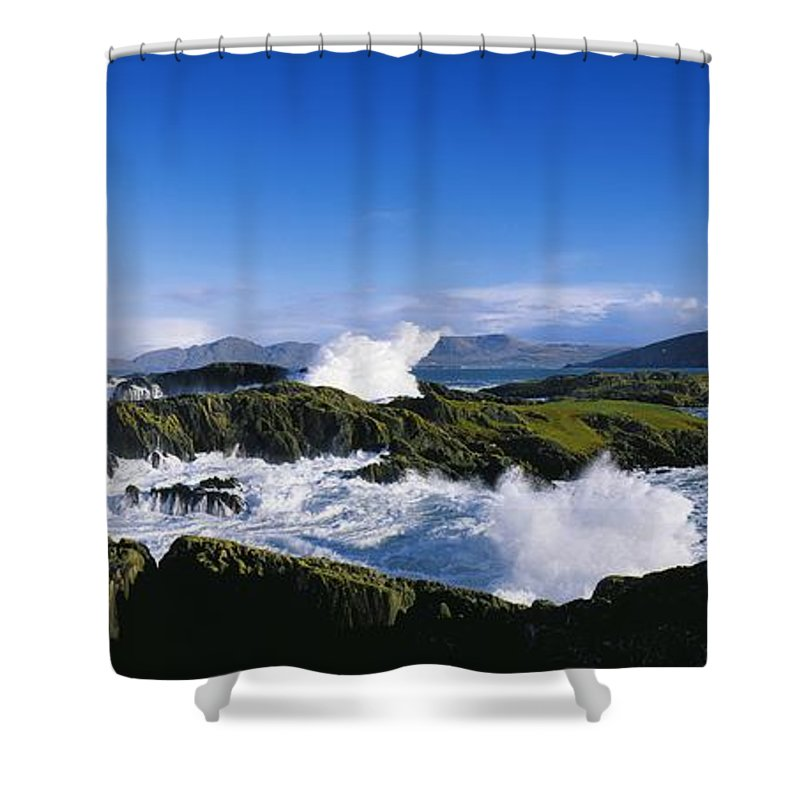 Attractions Shower Curtain featuring the photograph Waves Breaking Over Rocks, West Cork by The Irish Image Collection