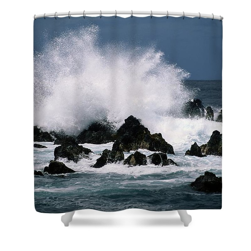 Pacific Islands Shower Curtain featuring the photograph Waves Crash Against The Rocks In Great by George F. Mobley