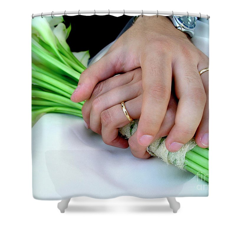 Background Shower Curtain featuring the photograph Wedding Rings by Carlos Caetano