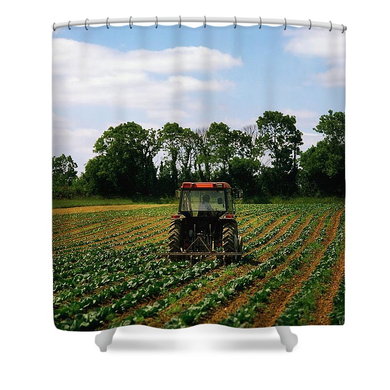 Backhoe Shower Curtain featuring the photograph Weeding A Cabbage Field, Ireland by The Irish Image Collection
