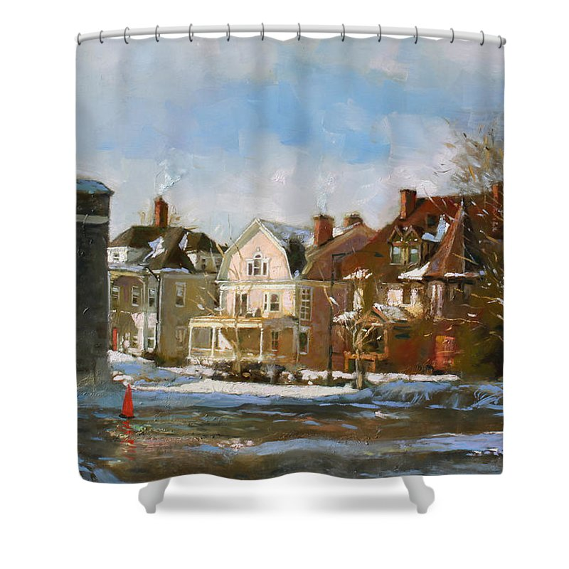 Houses Shower Curtain featuring the painting West Ferry Street by Ylli Haruni