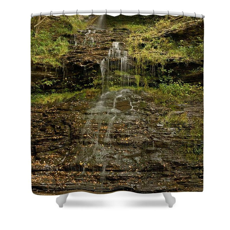 Cathedral Falls Shower Curtain featuring the photograph West Virginia Waterfall by Michael Peychich