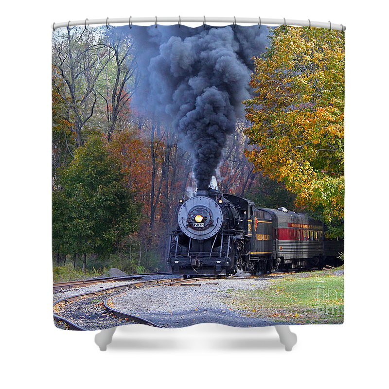 Train Shower Curtain featuring the photograph Western Maryland Steam Train by Jack Schultz