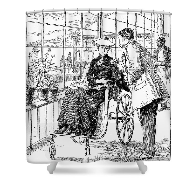 1886 Shower Curtain featuring the photograph Wheelchair, 1886 by Granger