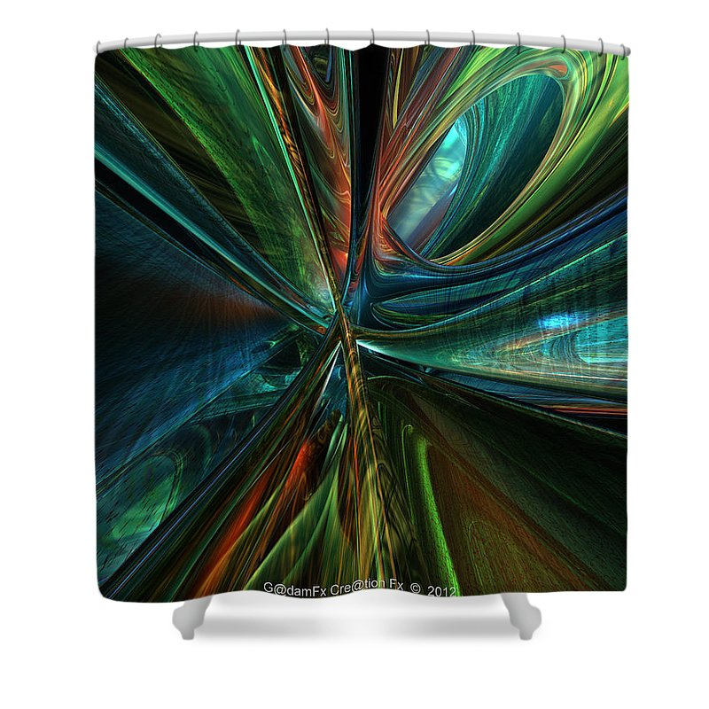 Canvas Shower Curtain featuring the digital art Where Tech Meets Digital Abstract Fx by G Adam Orosco