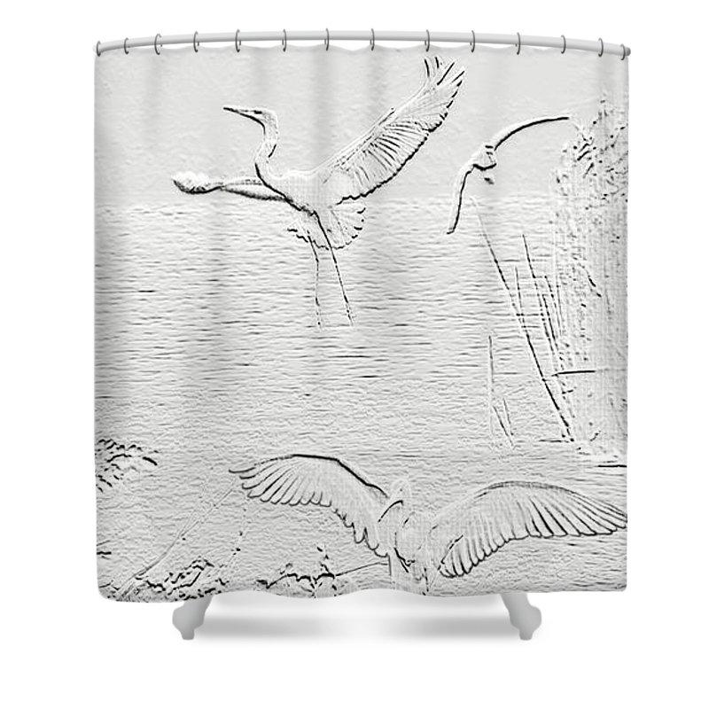 Ibis Shower Curtain featuring the digital art White Birds by Francesa Miller