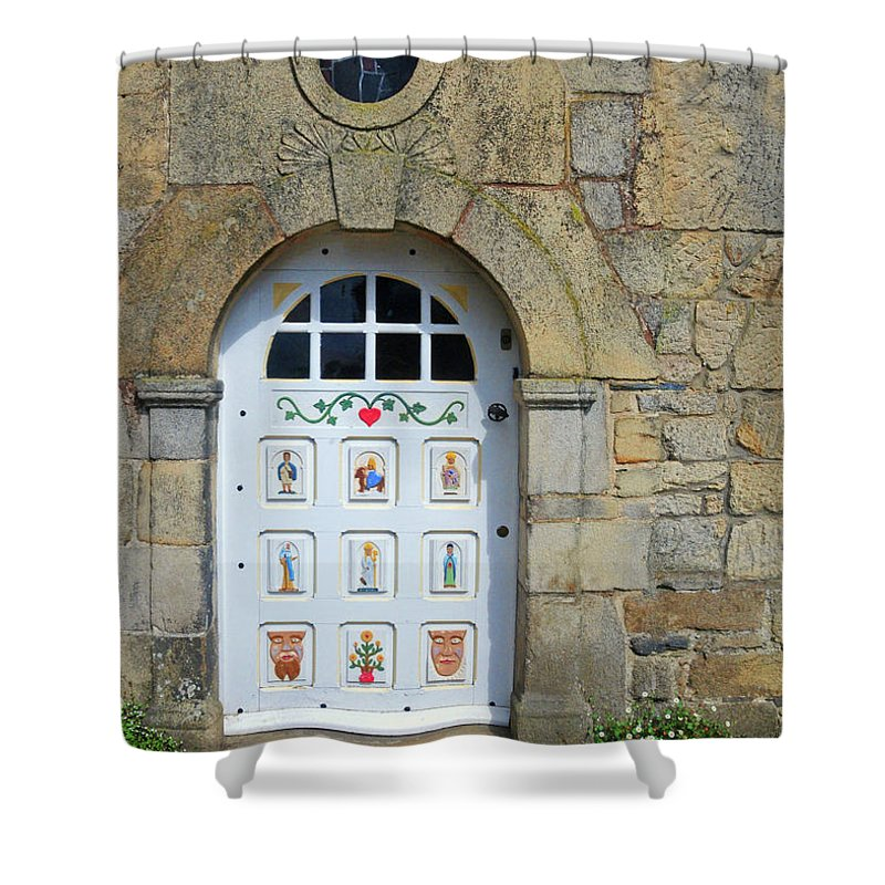 White Door Shower Curtain featuring the photograph White Door Provence France by Dave Mills