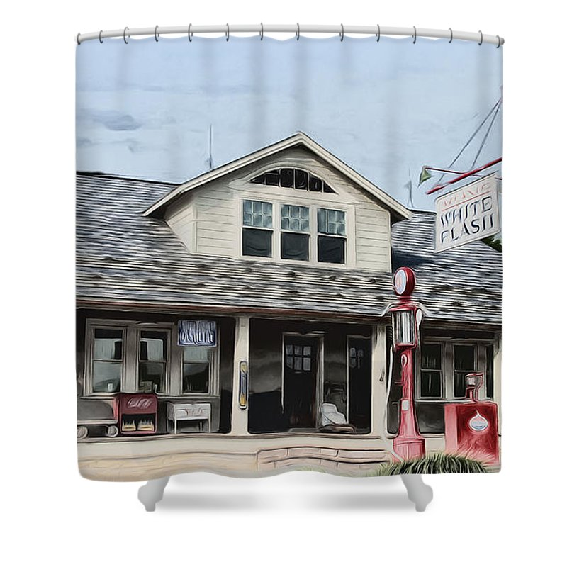 White Flash Gasoline Shower Curtain featuring the photograph White Flash Gasoline by Bill Cannon
