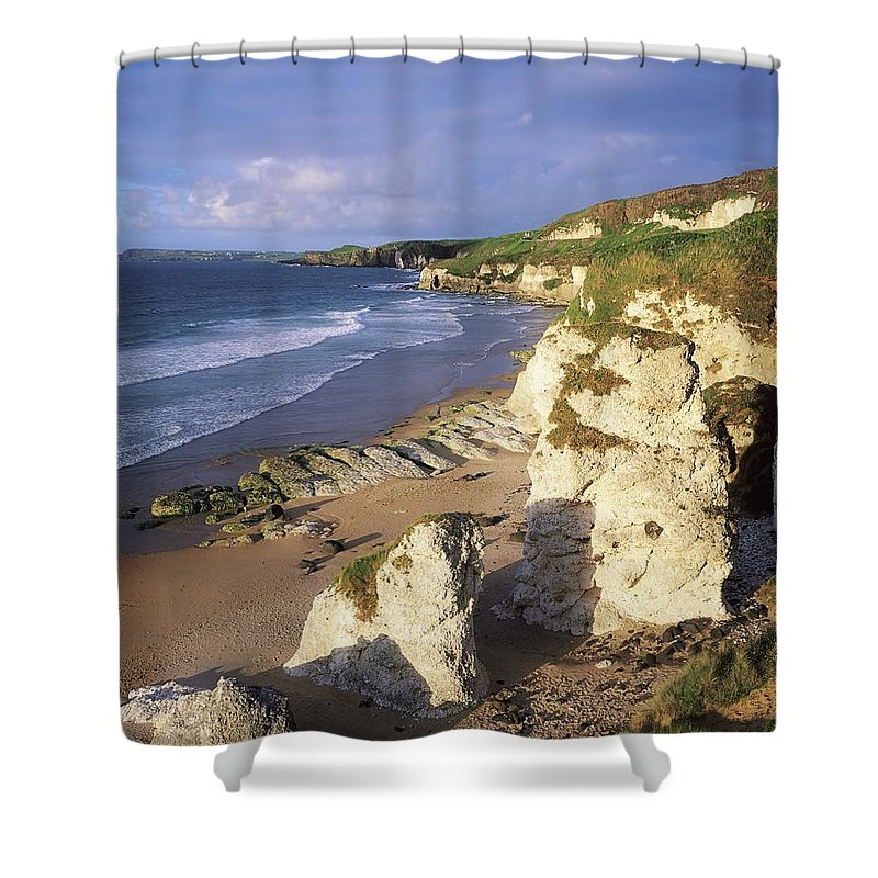 Beach Shower Curtain featuring the photograph White Rocks Beach, Between Portrush & by The Irish Image Collection