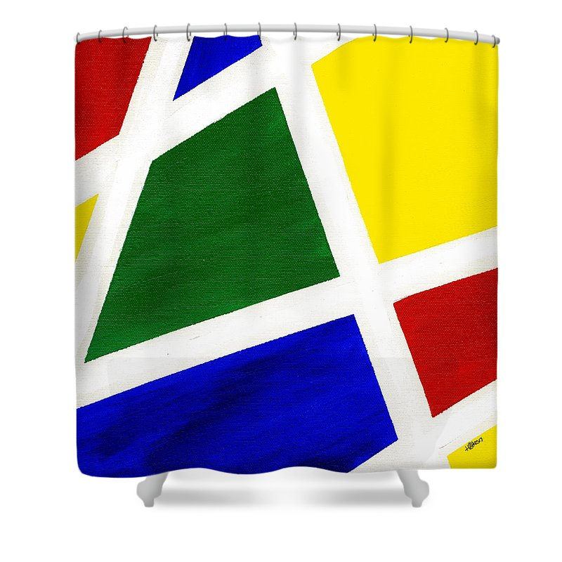 Abstract Shower Curtain featuring the painting White Stripes 6 by Hakon Soreide