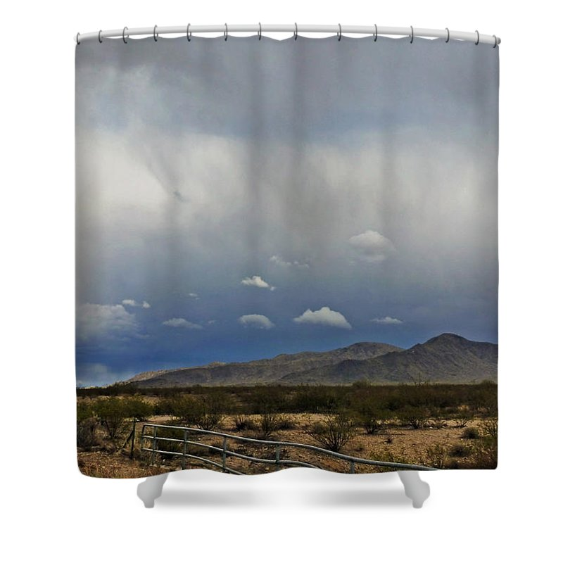 White Tank Mountains Shower Curtain featuring the photograph White Tank Mountains by Methune Hively
