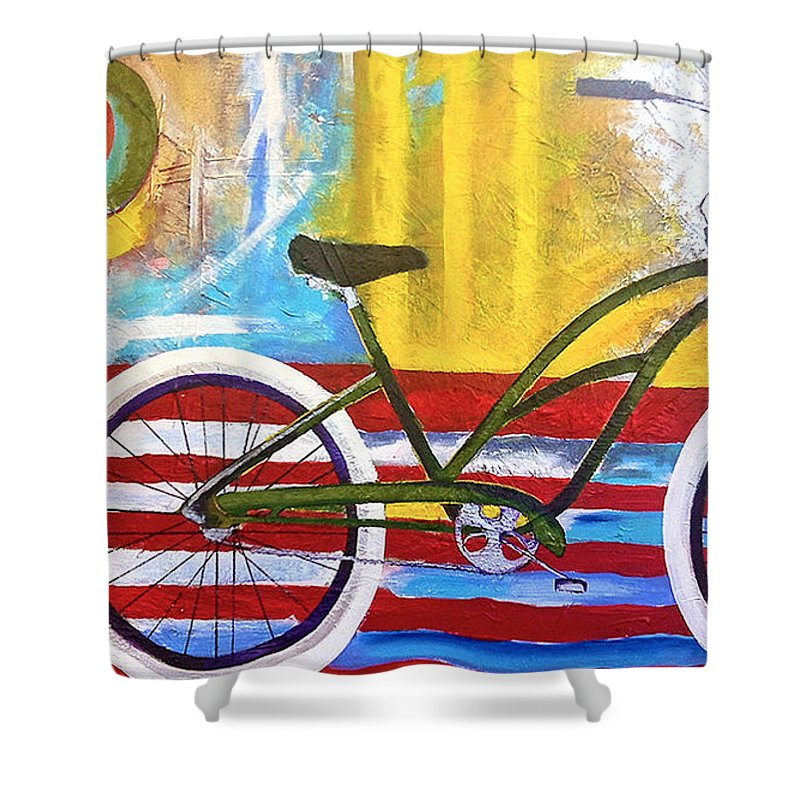 Bikes Shower Curtain featuring the painting White Wall Tires by Nancy Hilliard Joyce