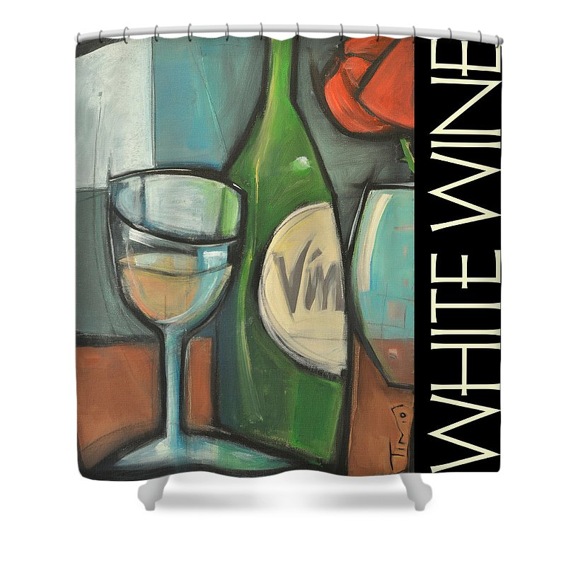 Beverage Shower Curtain featuring the painting White Wine Poster by Tim Nyberg