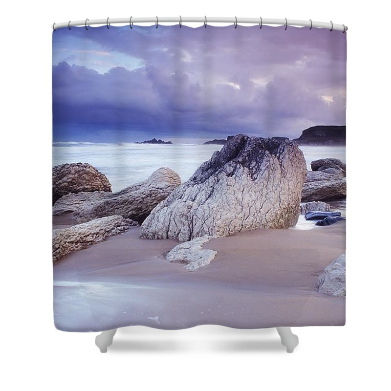 Beach Shower Curtain featuring the photograph Whitepark Bay, Co Antrim, Ireland Rocks by The Irish Image Collection