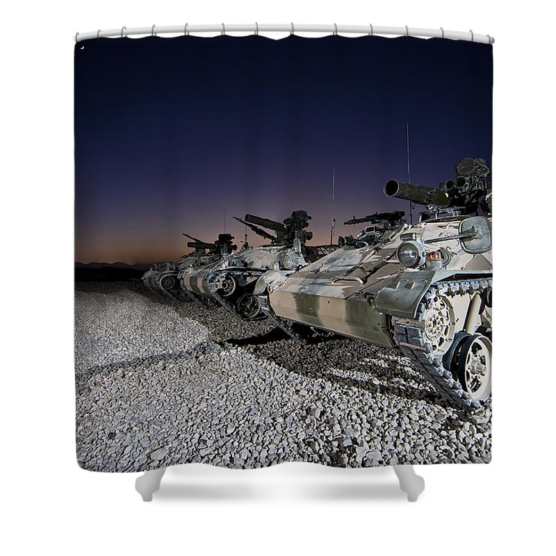 Operation Enduring Freedom Shower Curtain featuring the photograph Wiesel 1 Atm Tow Anti-tank Vehicles by Terry Moore