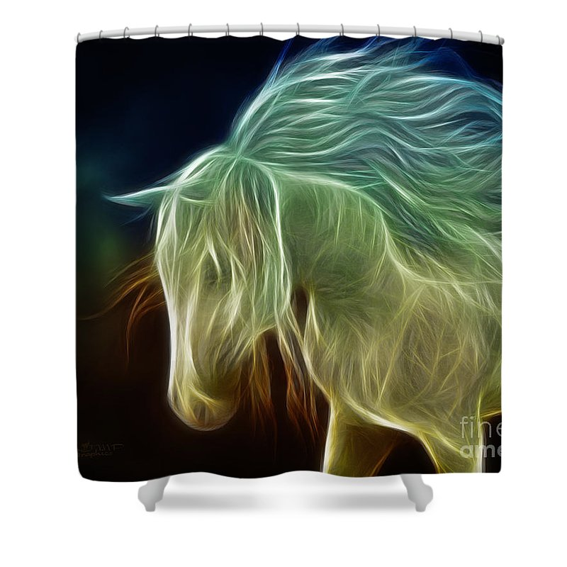 3d Shower Curtain featuring the digital art Wild Horse by Jutta Maria Pusl