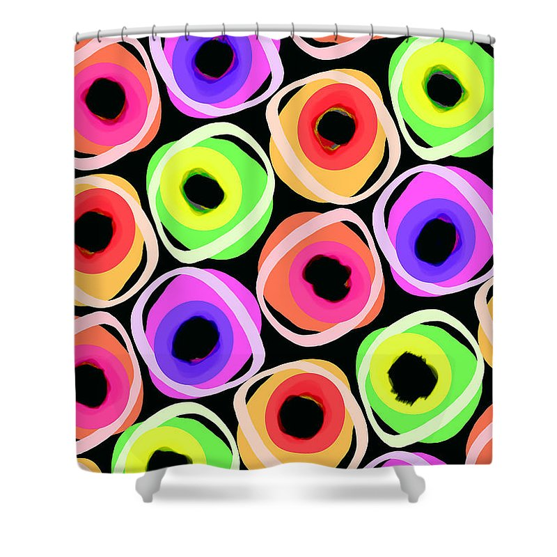 Wild Spots (digital) By Louisa Knight (contemporary Artist) Shower Curtain featuring the digital art Wild Spots by Louisa Knight