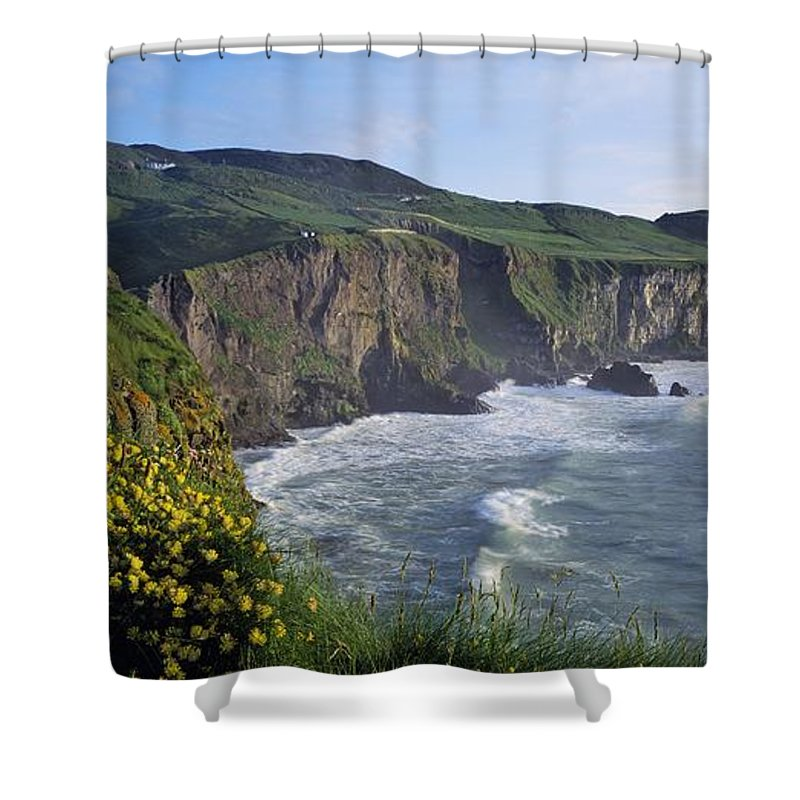 Cloud Shower Curtain featuring the photograph Wildflowers At The Coast, County by The Irish Image Collection