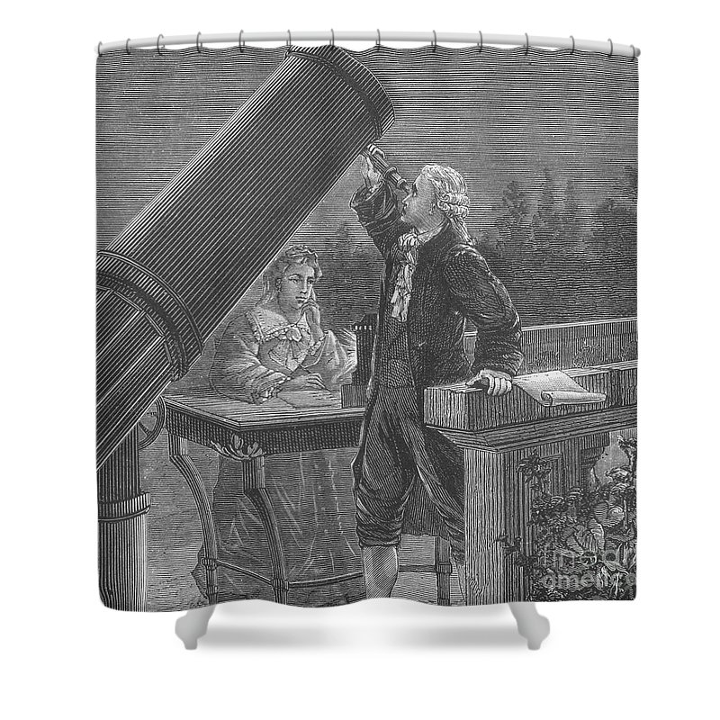 Science Shower Curtain featuring the photograph William And Caroline Herschel, German by Science Source