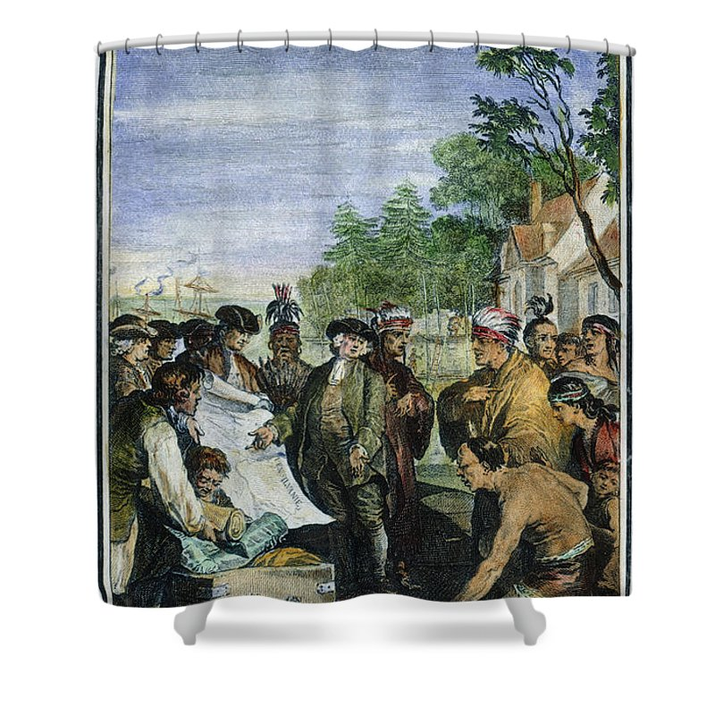 1682 Shower Curtain featuring the photograph William Penns Treaty, 1682 by Granger