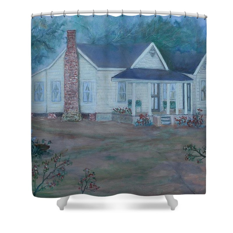 Landscape Shower Curtain featuring the painting Wilson Homestead by Ben Kiger