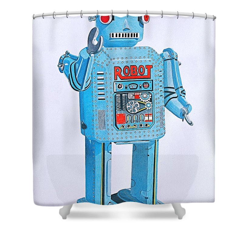 Robot Shower Curtain Featuring The Drawing Wind Up By Glenda Zuckerman