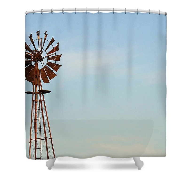 Agriculture Shower Curtain featuring the photograph Windmill-3673 by Gary Gingrich Galleries